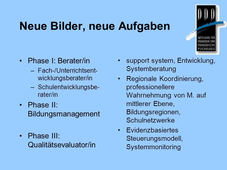 Neue Bilder, neue Aufgaben Phase I: Berater/in –Fach-/Unterrichtsent- wicklungsberater/in –Schulentwicklungsbe- rater/in Phase II: Bildungsmanagement