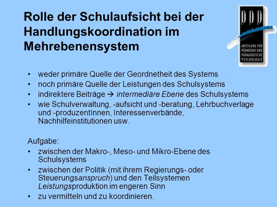 Rolle der Schulaufsicht bei der Handlungskoordination im Mehrebenensystem weder primäre Quelle der Geordnetheit des Systems noch primäre Quelle der Le