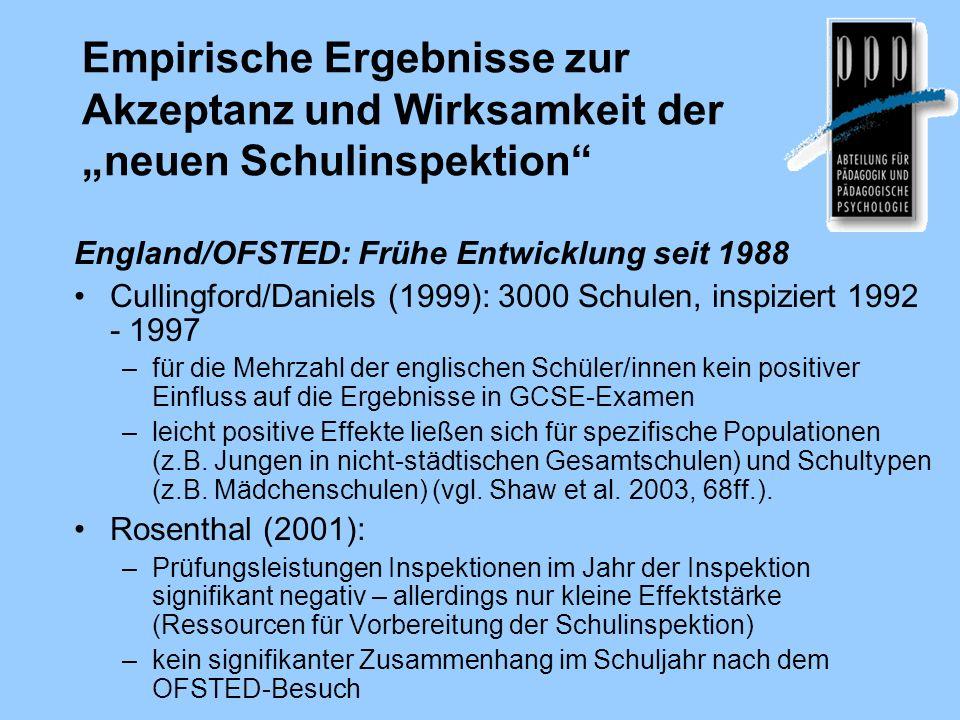 Empirische Ergebnisse zur Akzeptanz und Wirksamkeit der neuen Schulinspektion England/OFSTED: Frühe Entwicklung seit 1988 Cullingford/Daniels (1999):
