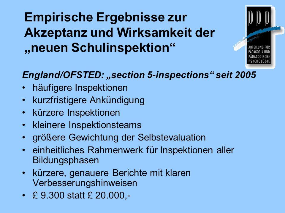 Empirische Ergebnisse zur Akzeptanz und Wirksamkeit der neuen Schulinspektion England/OFSTED: section 5-inspections seit 2005 häufigere Inspektionen k