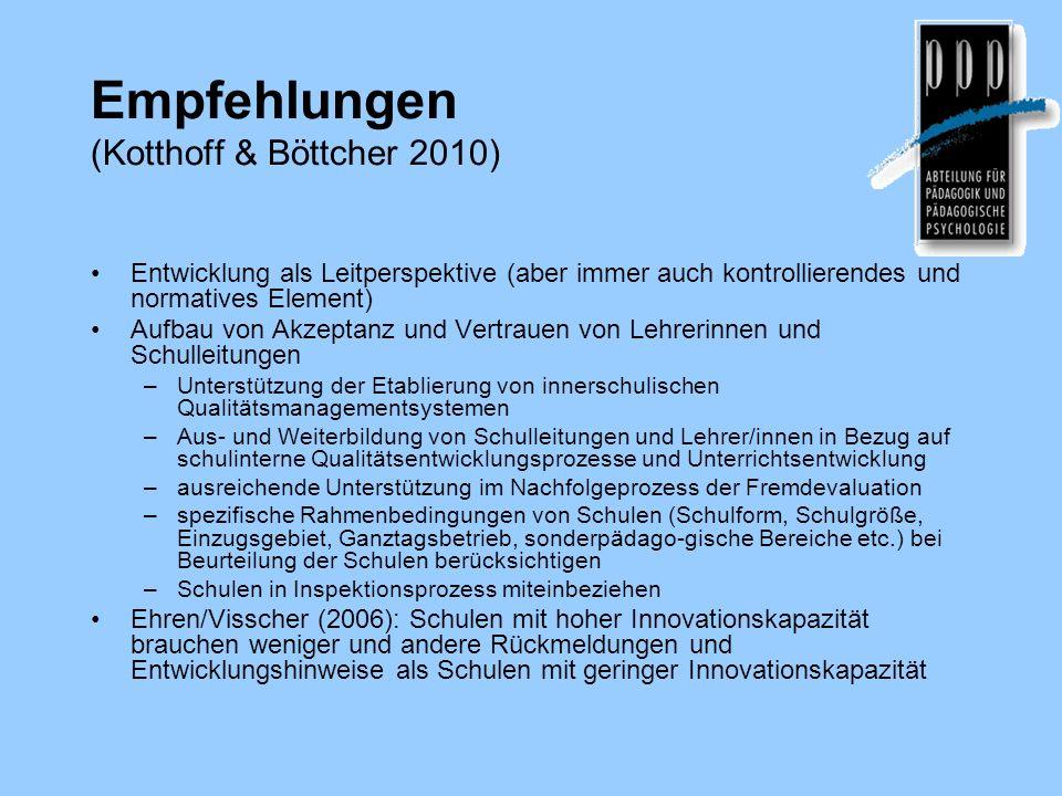 Empfehlungen (Kotthoff & Böttcher 2010) Entwicklung als Leitperspektive (aber immer auch kontrollierendes und normatives Element) Aufbau von Akzeptanz