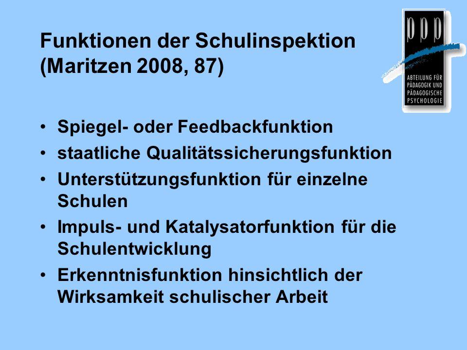 Funktionen der Schulinspektion (Maritzen 2008, 87) Spiegel- oder Feedbackfunktion staatliche Qualitätssicherungsfunktion Unterstützungsfunktion für ei