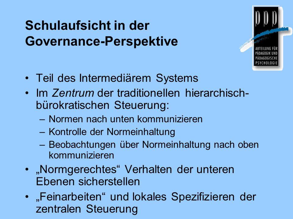 Schulaufsicht in der Governance-Perspektive Teil des Intermediärem Systems Im Zentrum der traditionellen hierarchisch- bürokratischen Steuerung: –Norm