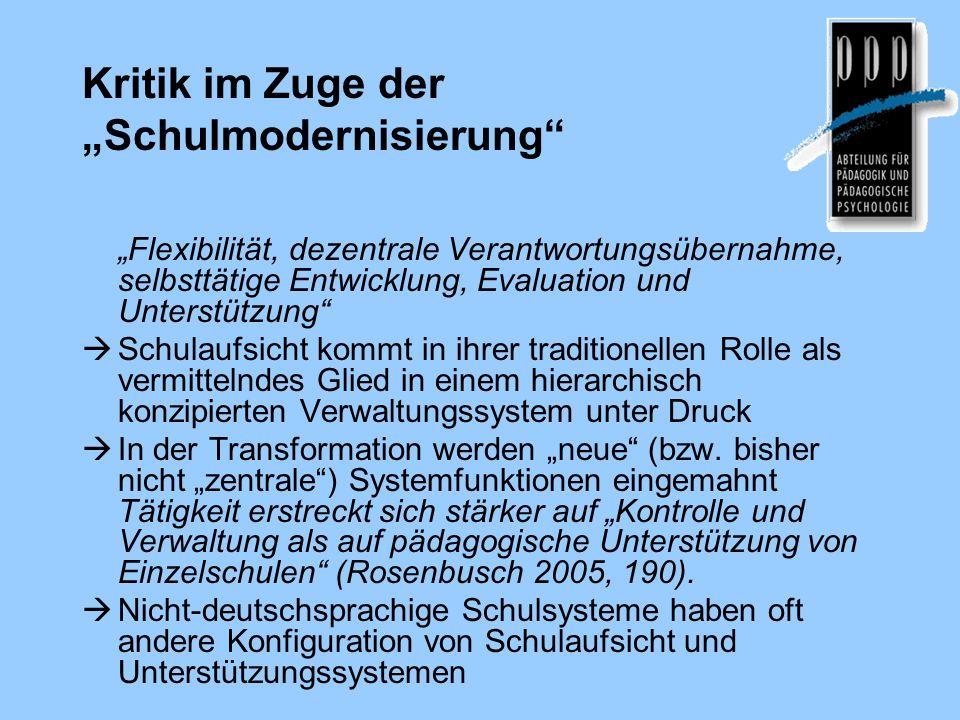 Kritik im Zuge der Schulmodernisierung Flexibilität, dezentrale Verantwortungsübernahme, selbsttätige Entwicklung, Evaluation und Unterstützung Schula