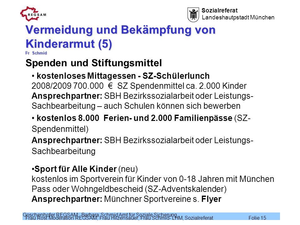 Sozialreferat Landeshautpstadt München Frau Rost Moderation REGSAM; Frau Hilzensauer; Frau Schmid- LHM, Sozialreferat Folie 15 Goschenhofer REGSAM; Ba