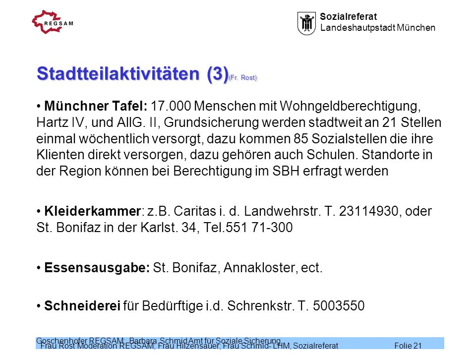 Sozialreferat Landeshautpstadt München Frau Rost Moderation REGSAM; Frau Hilzensauer; Frau Schmid- LHM, Sozialreferat Folie 21 Goschenhofer REGSAM; Ba