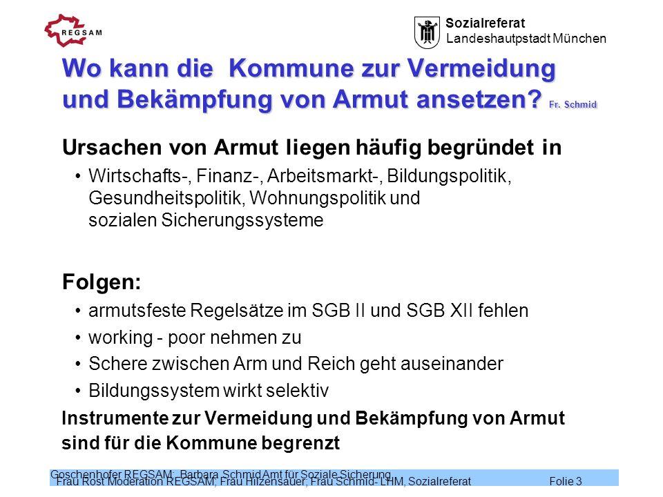Sozialreferat Landeshautpstadt München Frau Rost Moderation REGSAM; Frau Hilzensauer; Frau Schmid- LHM, Sozialreferat Folie 3 Goschenhofer REGSAM; Bar