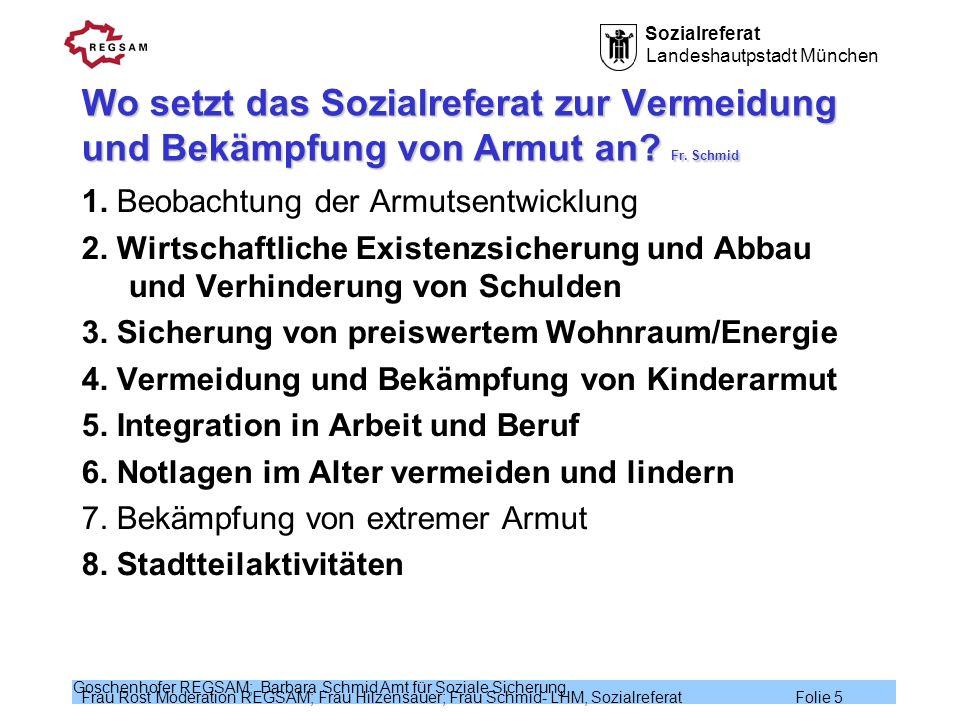 Sozialreferat Landeshautpstadt München Frau Rost Moderation REGSAM; Frau Hilzensauer; Frau Schmid- LHM, Sozialreferat Folie 6 Goschenhofer REGSAM; Barbara Schmid Amt für Soziale Sicherung Wirtschaftliche Existenzsicherung (1) Fr.