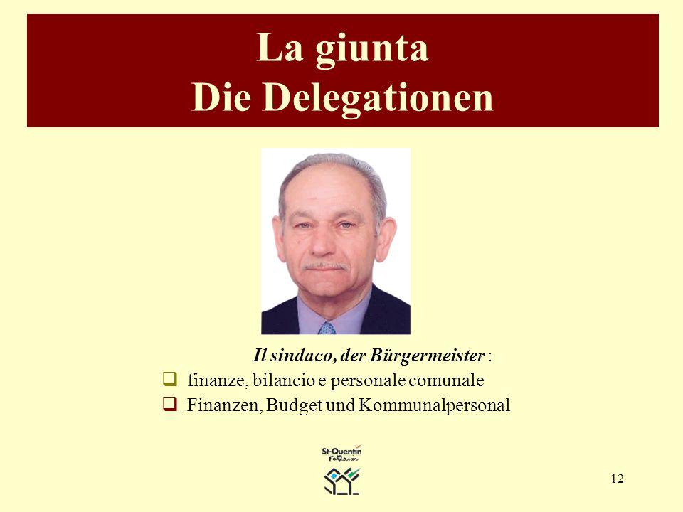 12 La giunta Die Delegationen Il sindaco, der Bürgermeister : finanze, bilancio e personale comunale Finanzen, Budget und Kommunalpersonal