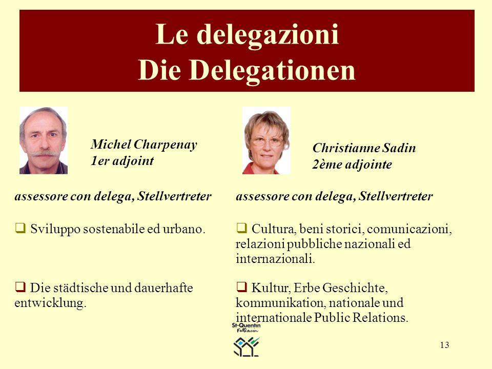 13 Le delegazioni Die Delegationen Christianne Sadin 2ème adjointe Michel Charpenay 1er adjoint assessore con delega, Stellvertreter Sviluppo sostenabile ed urbano.