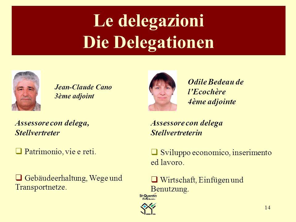 14 Le delegazioni Die Delegationen Odile Bedeau de lEcochère 4ème adjointe Assessore con delega Stellvertreterin Sviluppo economico, inserimento ed lavoro.