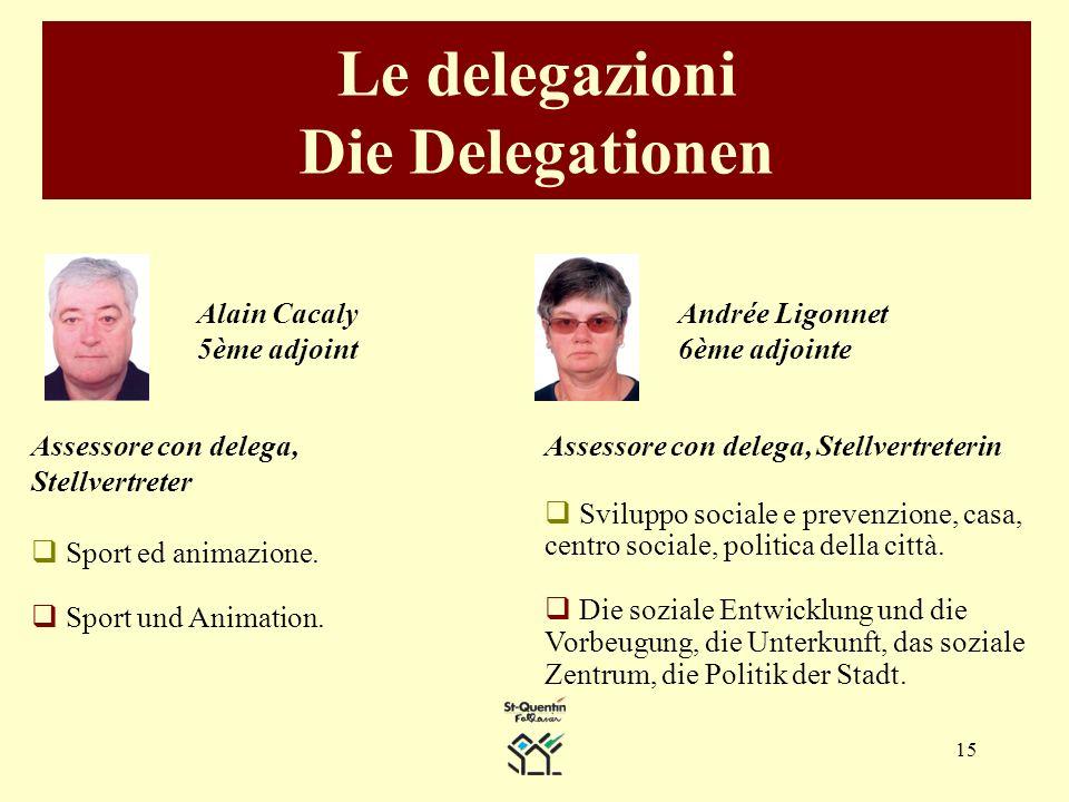 15 Le delegazioni Die Delegationen Alain Cacaly 5ème adjoint Assessore con delega, Stellvertreter Sport ed animazione.