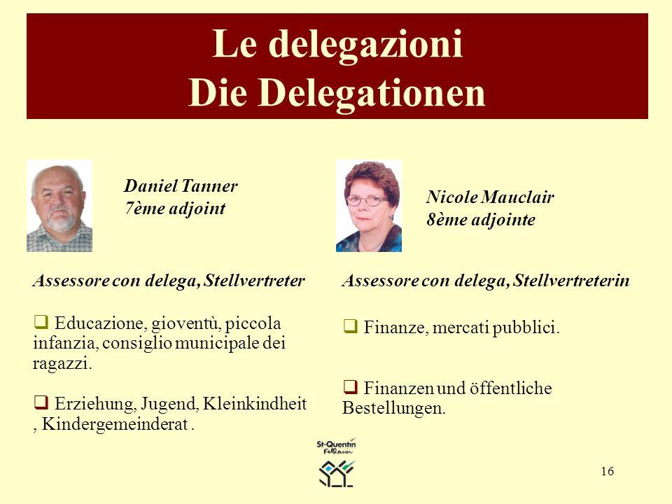 16 Le delegazioni Die Delegationen Daniel Tanner 7ème adjoint Assessore con delega, Stellvertreter Educazione, gioventù, piccola infanzia, consiglio municipale dei ragazzi.