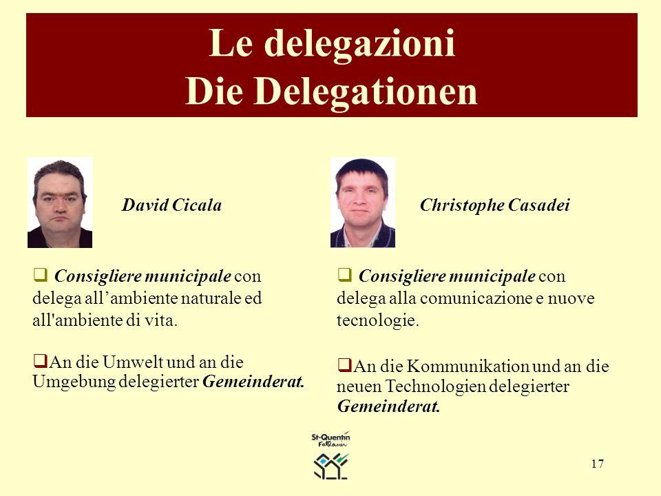 17 Le delegazioni Die Delegationen David Cicala Consigliere municipale con delega allambiente naturale ed all ambiente di vita.