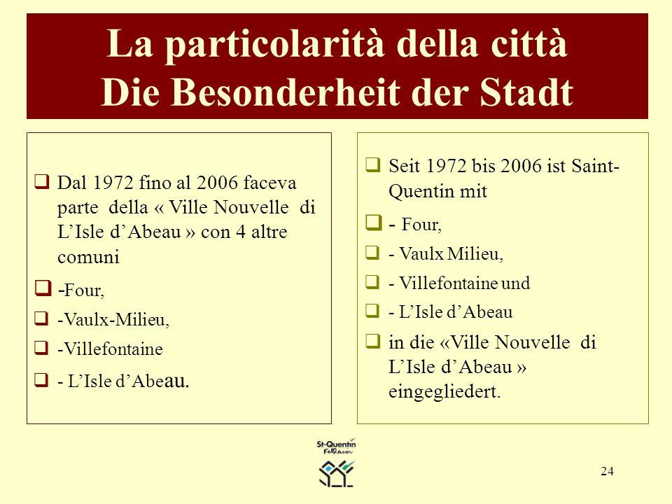 24 La particolarità della città Die Besonderheit der Stadt Dal 1972 fino al 2006 faceva parte della « Ville Nouvelle di LIsle dAbeau » con 4 altre comuni - Four, -Vaulx-Milieu, -Villefontaine - LIsle dAbe au.
