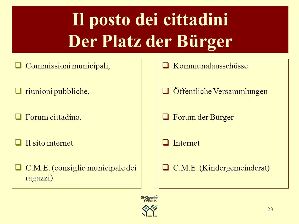29 Il posto dei cittadini Der Platz der Bürger Kommunalausschüsse Öffentliche Versammlungen Forum der Bürger Internet C.M.E.