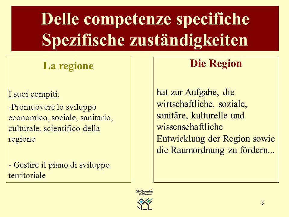 3 Delle competenze specifiche Spezifische zuständigkeiten Die Region hat zur Aufgabe, die wirtschaftliche, soziale, sanitäre, kulturelle und wissenschaftliche Entwicklung der Region sowie die Raumordnung zu fördern...
