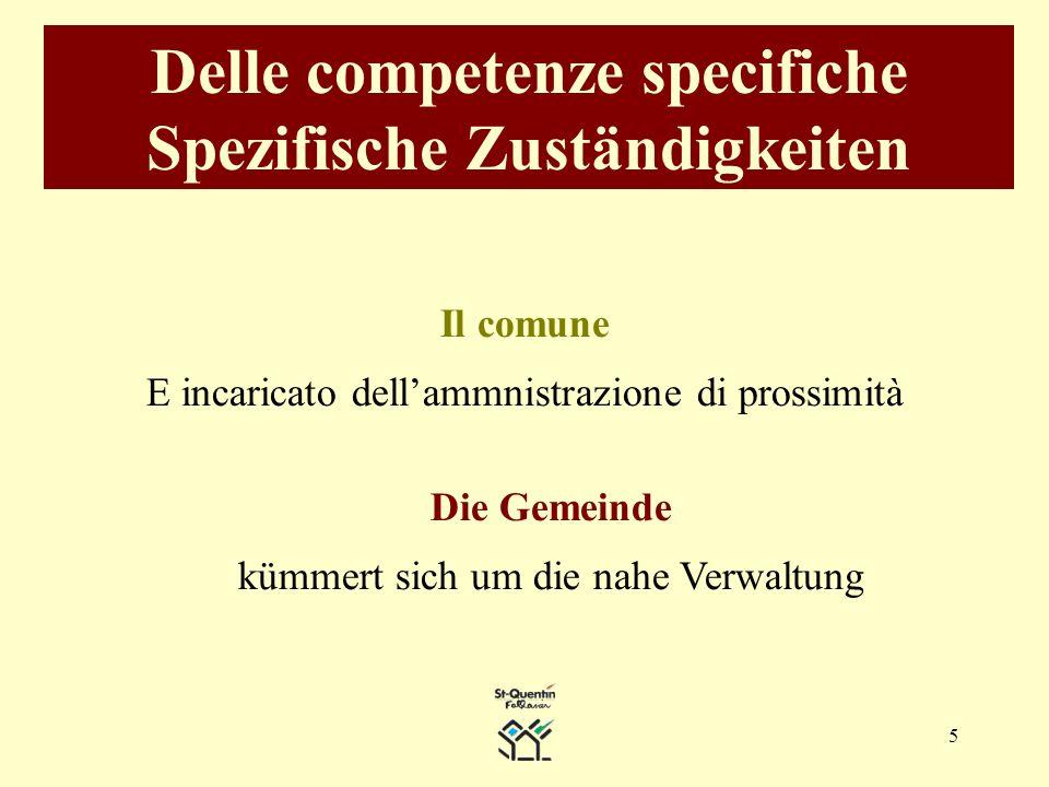 5 Delle competenze specifiche Spezifische Zuständigkeiten Il comune E incaricato dellammnistrazione di prossimità Die Gemeinde kümmert sich um die nahe Verwaltung