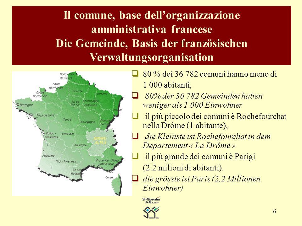 6 Il comune, base dellorganizzazione amministrativa francese Die Gemeinde, Basis der französischen Verwaltungsorganisation 80 % dei 36 782 comuni hanno meno di 1 000 abitanti, 80% der 36 782 Gemeinden haben weniger als 1 000 Einwohner il più piccolo dei comuni è Rochefourchat nella Drôme (1 abitante), die Kleinste ist Rochefourchat in dem Departement « La Drôme » il più grande dei comuni è Parigi (2.2 milioni di abitanti).