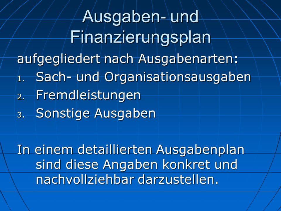 Ausgaben- und Finanzierungsplan aufgegliedert nach Ausgabenarten: 1. Sach- und Organisationsausgaben 2. Fremdleistungen 3. Sonstige Ausgaben In einem