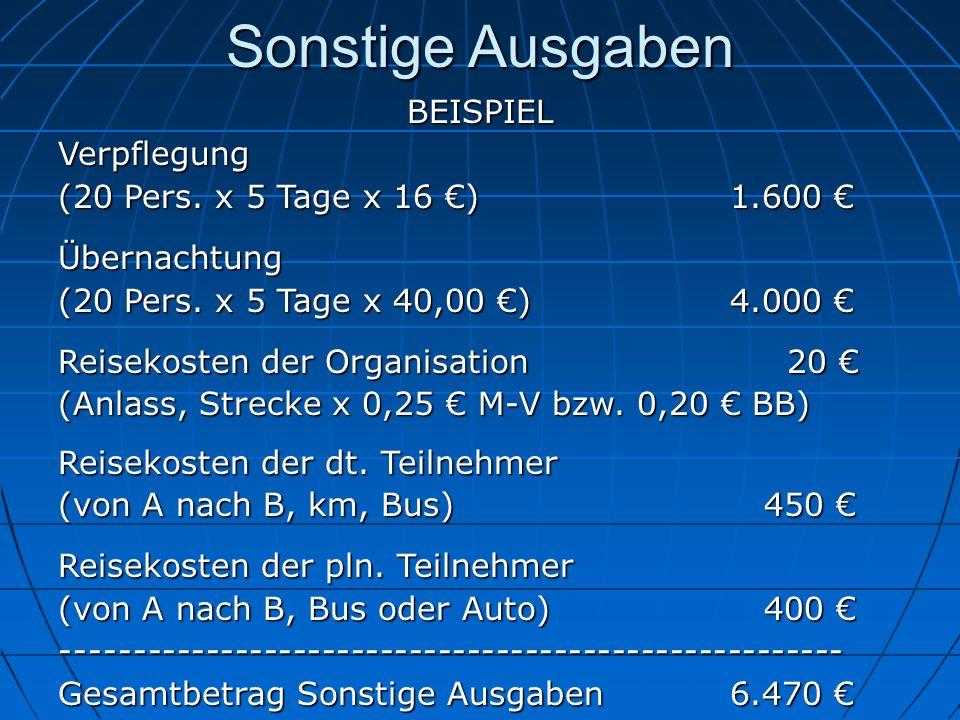 Sonstige Ausgaben BEISPIELVerpflegung (20 Pers. x 5 Tage x 16 ) 1.600 (20 Pers. x 5 Tage x 16 ) 1.600 Übernachtung (20 Pers. x 5 Tage x 40,00 )4.000 (