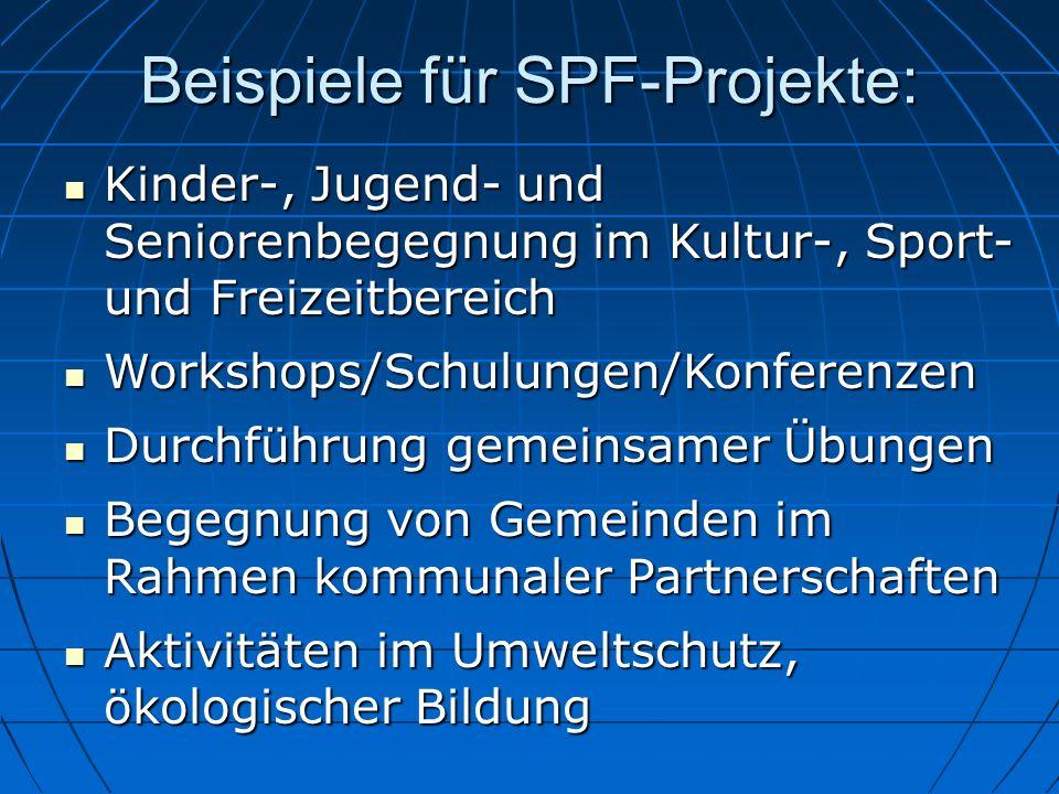 Beispiele für SPF-Projekte: Kinder-, Jugend- und Seniorenbegegnung im Kultur-, Sport- und Freizeitbereich Kinder-, Jugend- und Seniorenbegegnung im Ku