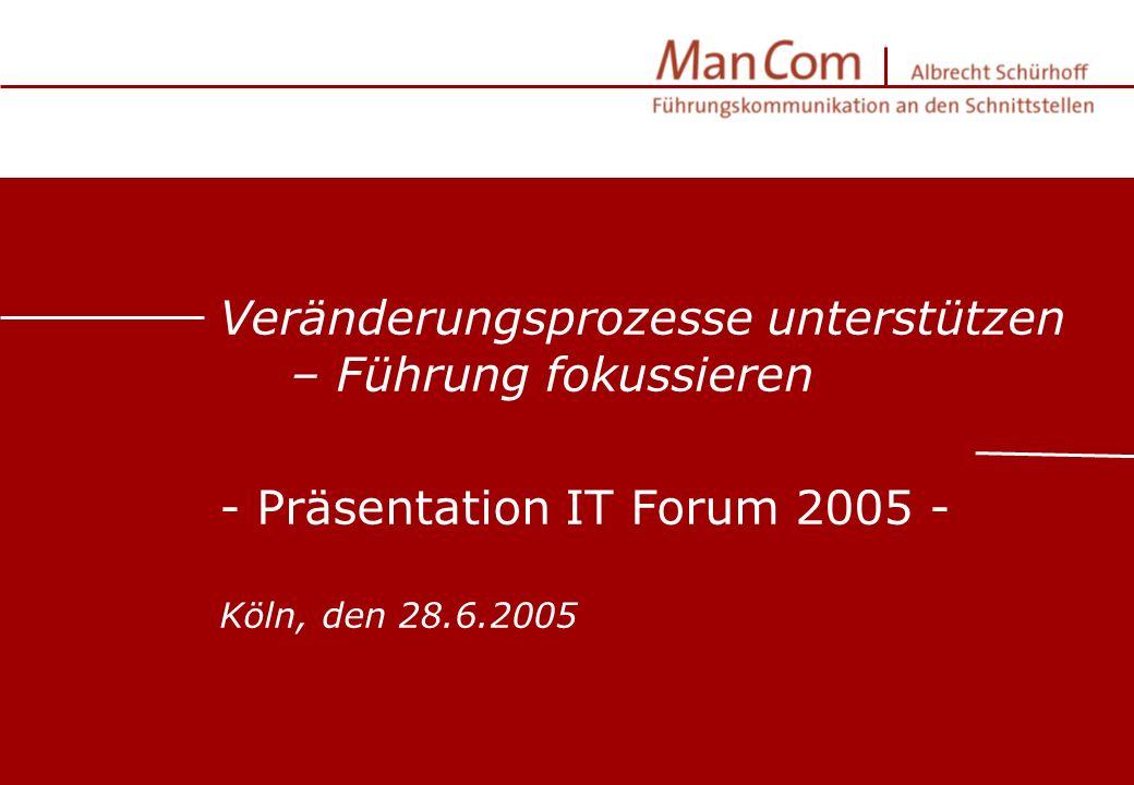 Präsentationsfolien für Kunde XY | © M an C om | Albrecht Schürhoff | Köln 2004 Veränderungsprozesse unterstützen – Führung fokussieren - Präsentation