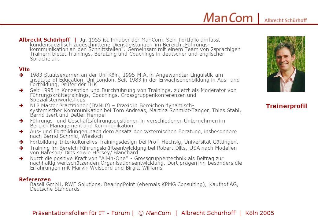 Albrecht Schürhoff | Jg. 1955 ist Inhaber der ManCom. Sein Portfolio umfasst kundenspezifisch zugeschnittene Dienstleistungen im Bereich Führungs- kom