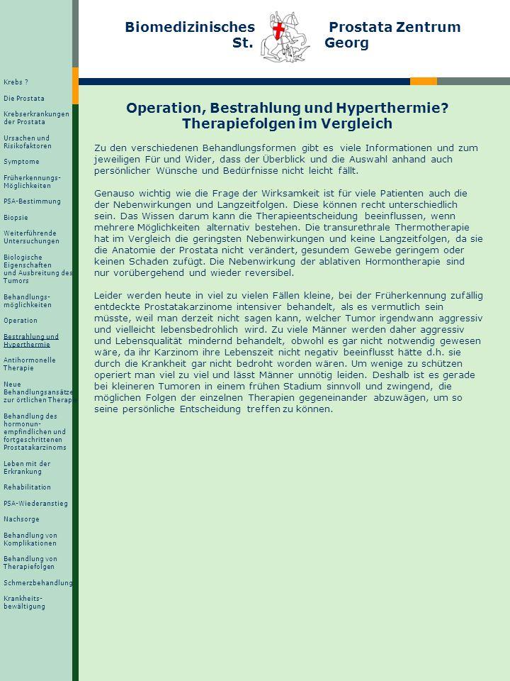 Biomedizinisches Prostata Zentrum St. Georg Operation, Bestrahlung und Hyperthermie? Therapiefolgen im Vergleich Zu den verschiedenen Behandlungsforme