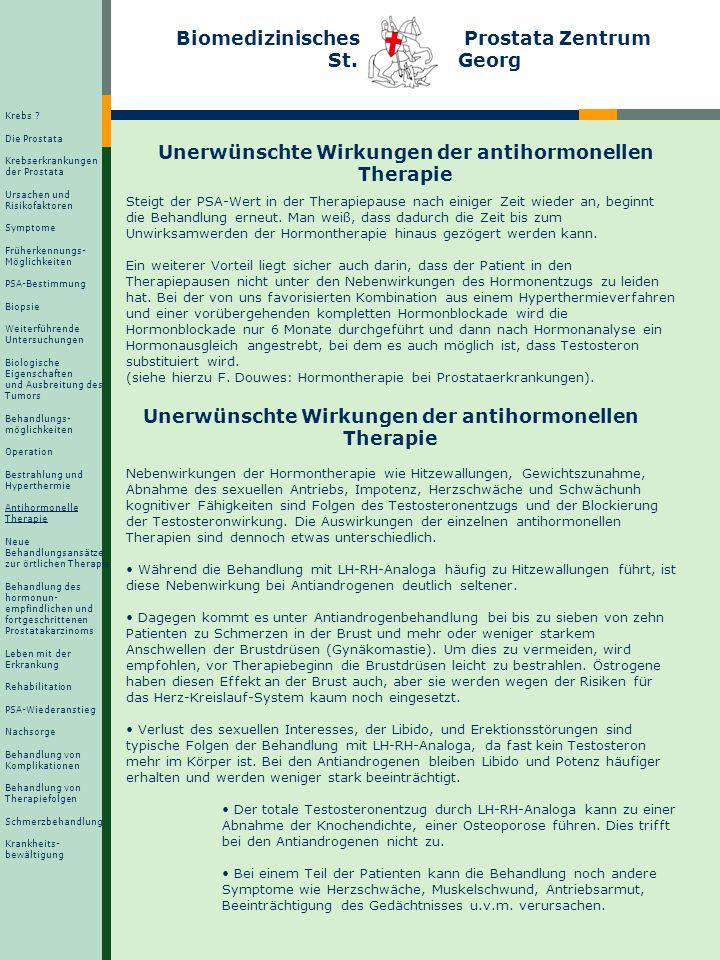 Biomedizinisches Prostata Zentrum St. Georg Unerwünschte Wirkungen der antihormonellen Therapie Steigt der PSA-Wert in der Therapiepause nach einiger