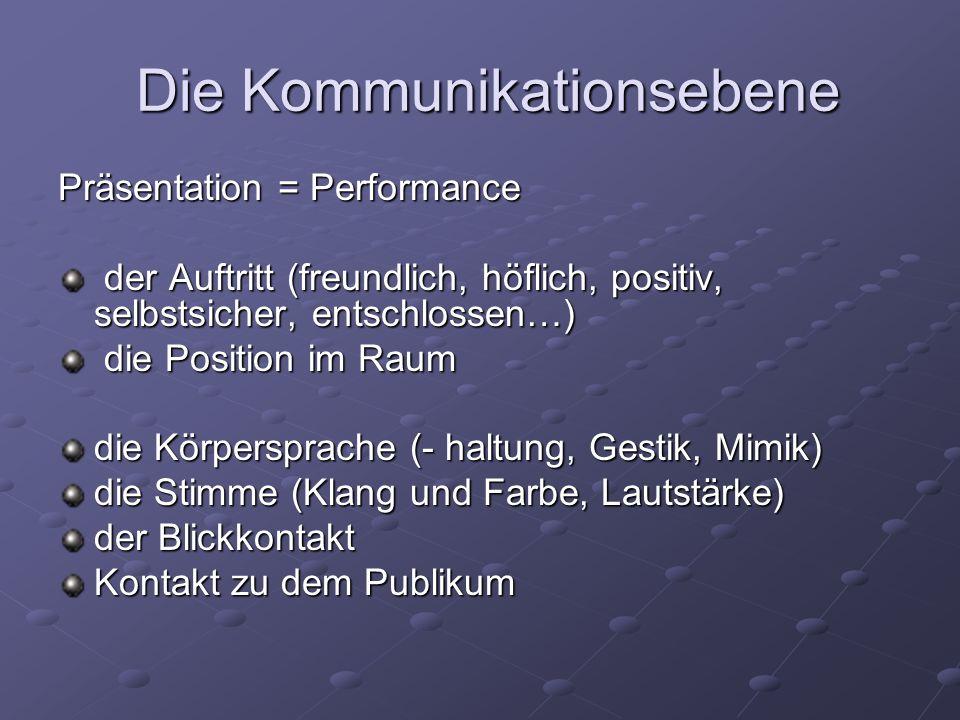 Die Kommunikationsebene Die Kommunikationsebene Präsentation = Performance der Auftritt (freundlich, höflich, positiv, selbstsicher, entschlossen…) de