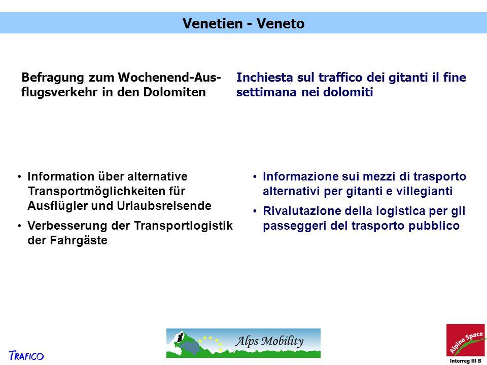 Venetien - Veneto Befragung zum Wochenend-Aus- flugsverkehr in den Dolomiten Inchiesta sul traffico dei gitanti il fine settimana nei dolomiti Informa