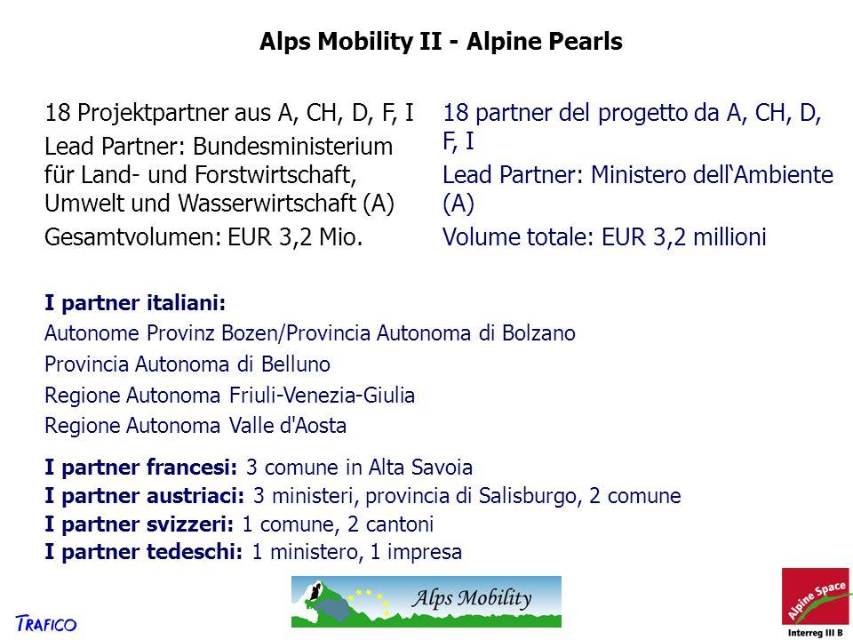 Alps Mobility II - Alpine Pearls 18 Projektpartner aus A, CH, D, F, I Lead Partner: Bundesministerium für Land- und Forstwirtschaft, Umwelt und Wasser