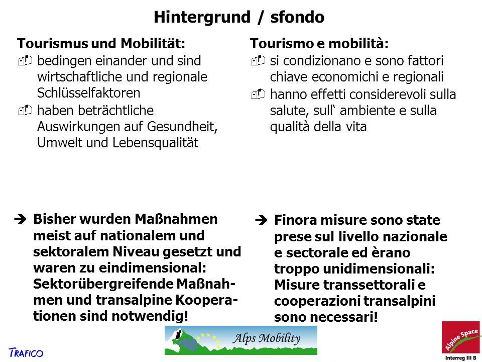 Hintergrund / sfondo Tourismus und Mobilität: bedingen einander und sind wirtschaftliche und regionale Schlüsselfaktoren haben beträchtliche Auswirkun