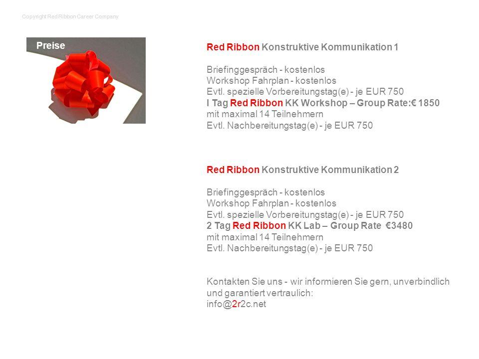 Red Ribbon Konstruktive Kommunikation 1 Briefinggespräch - kostenlos Workshop Fahrplan - kostenlos Evtl. spezielle Vorbereitungstag(e) - je EUR 750 I