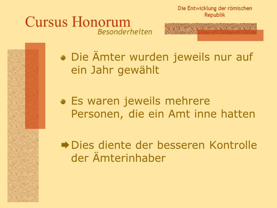 Die Entwicklung der römischen Republik Cursus Honorum Die Ämter wurden jeweils nur auf ein Jahr gewählt Es waren jeweils mehrere Personen, die ein Amt