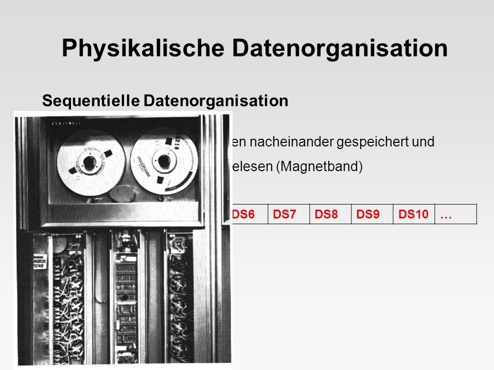 Physikalische Datenorganisation Sequentielle Datenorganisation = Datensätze einer Datei werden nacheinander gespeichert und in festgelegter Reihenfolg
