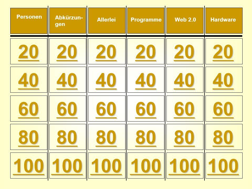 20 40 60 80 100 60 80 100 60 80 100 60 80 100 60 80 100 60 80 100 Personen Web 2.0AllerleiHardwareProgramme Abkürzun- gen