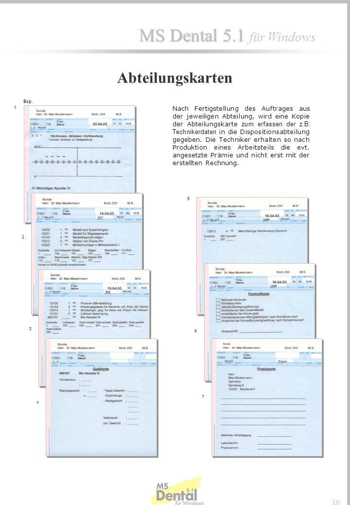 MS Dental 5.1 MS Dental 5.1 für Windows 9 In der Terminanzeige werden die im aktuellen Durchlauf angesprochenen Abteilungen entsprechend den errechnet