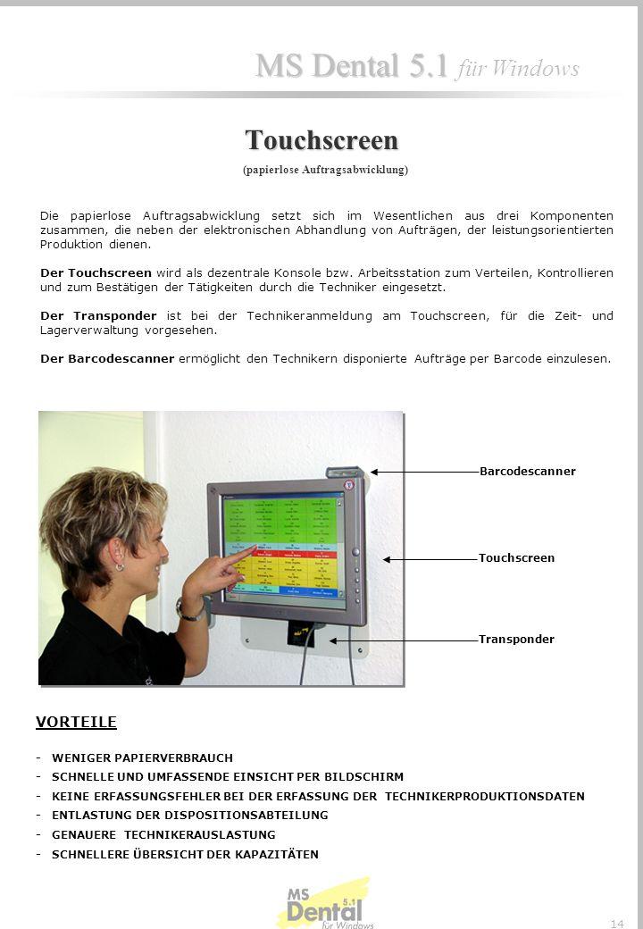 MS Dental 5.1 MS Dental 5.1 für Windows 13 Bsp. Abteilungsproduktionsblatt