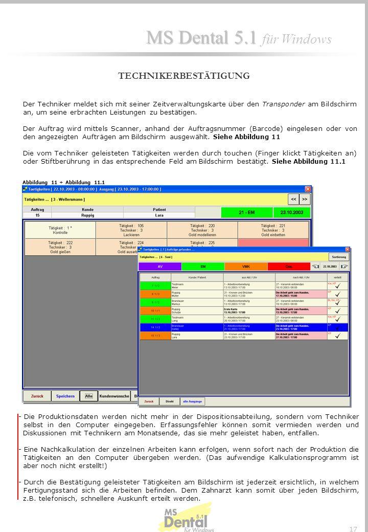 MS Dental 5.1 MS Dental 5.1 für Windows 16 Entweder wird die Arbeit im Kontrollraum oder durch die Abteilungsleiter in den entsprechenden Abteilungen