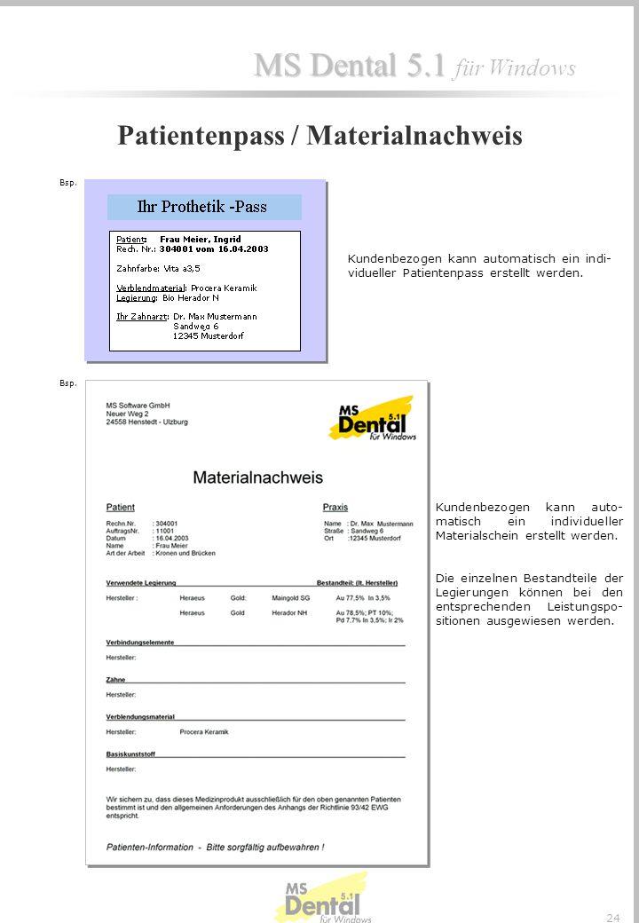 MS Dental 5.1 MS Dental 5.1 für Windows 23 Sollen Techniker nur Teilbereiche einer Leistung anfertigen, so kann dies hier bei den automatisch angezeig
