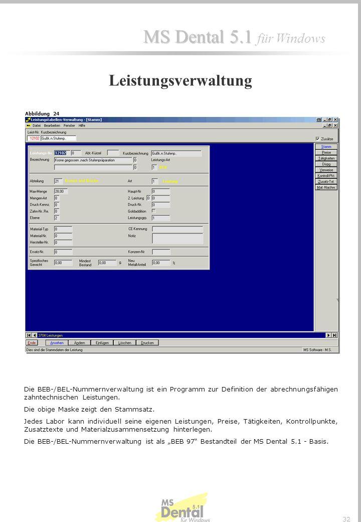 MS Dental 5.1 MS Dental 5.1 für Windows 31 Laborumsatz : - Tagesumsatz nach Abteilung und Gesamtsummen - Jahresumsatz : Je Monat nach Abteilung und ge