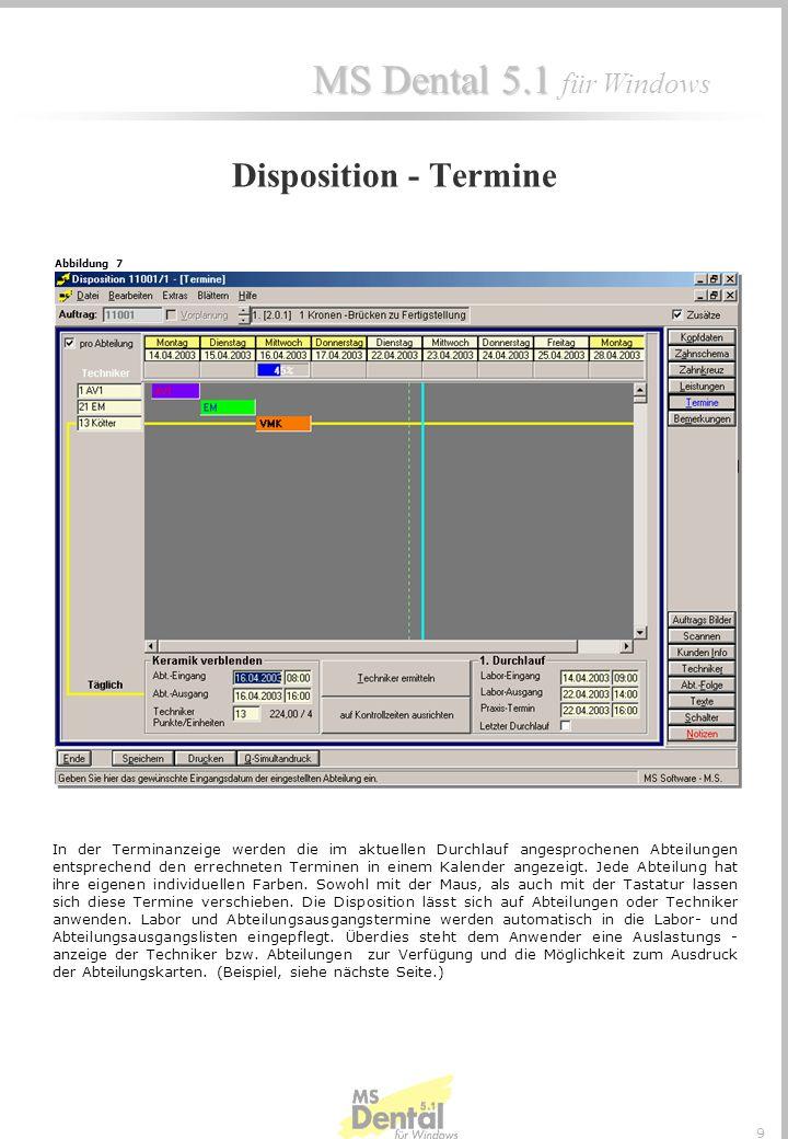 MS Dental 5.1 MS Dental 5.1 für Windows 9 In der Terminanzeige werden die im aktuellen Durchlauf angesprochenen Abteilungen entsprechend den errechneten Terminen in einem Kalender angezeigt.