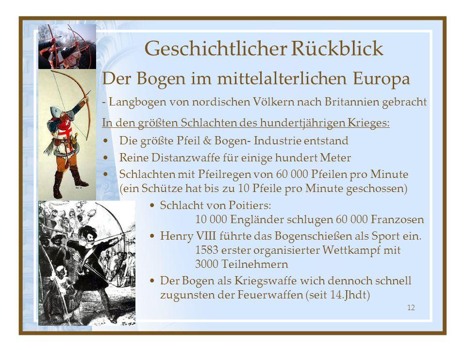 12 Der Bogen im mittelalterlichen Europa - Langbogen von nordischen Völkern nach Britannien gebracht In den größten Schlachten des hundertjährigen Kri