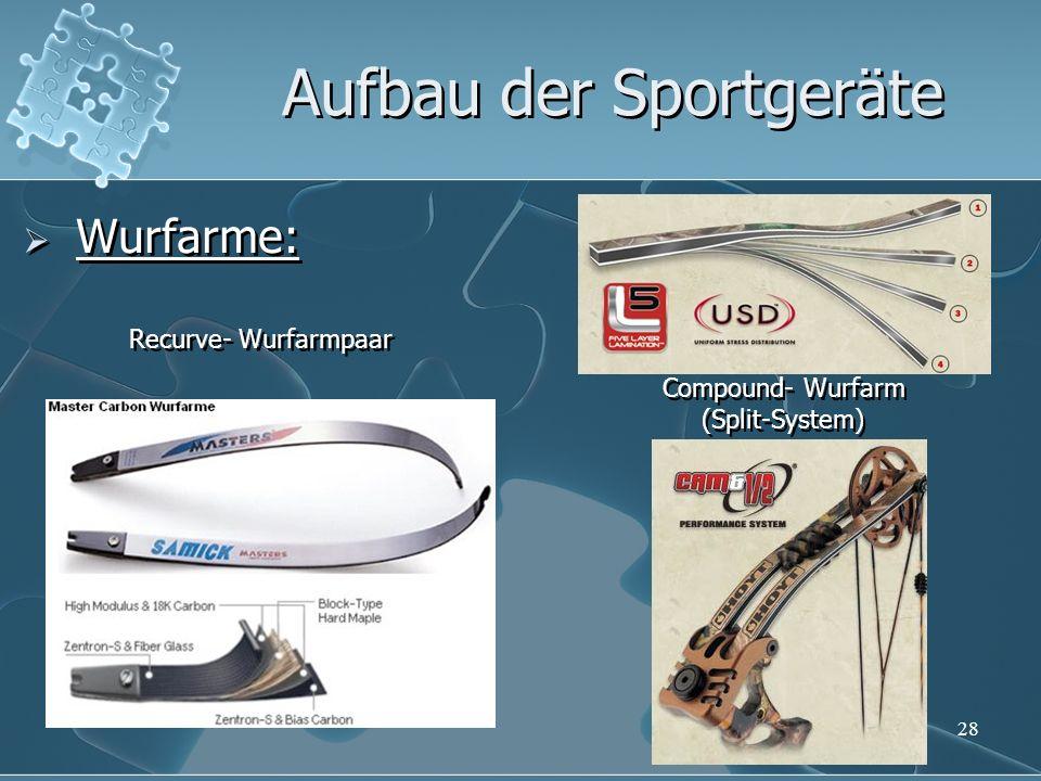28 Aufbau der Sportgeräte Wurfarme: Compound- Wurfarm (Split-System) Recurve- Wurfarmpaar