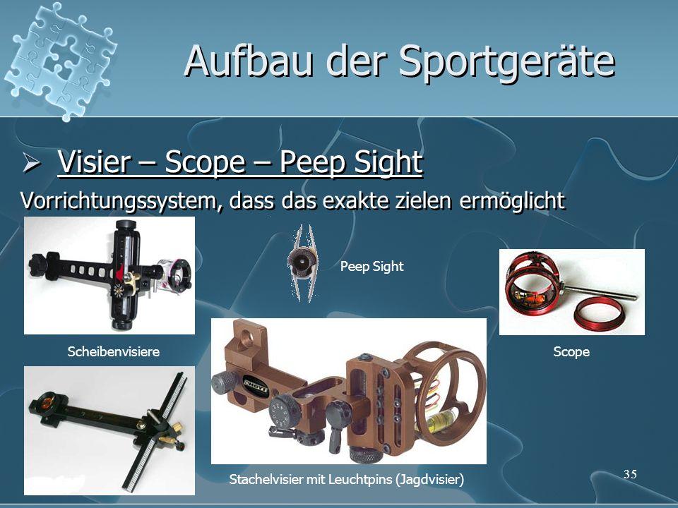 35 Visier – Scope – Peep Sight Vorrichtungssystem, dass das exakte zielen ermöglicht Visier – Scope – Peep Sight Vorrichtungssystem, dass das exakte z