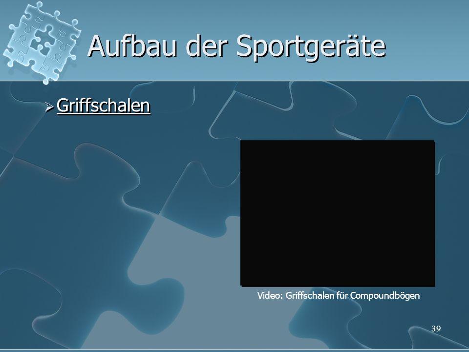 39 Aufbau der Sportgeräte Griffschalen Video: Griffschalen für Compoundbögen