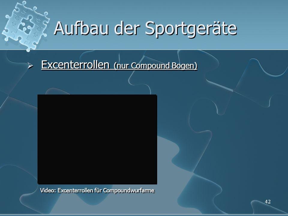 42 Aufbau der Sportgeräte Excenterrollen (nur Compound Bogen) Video: Excenterrollen für Compoundwurfarme