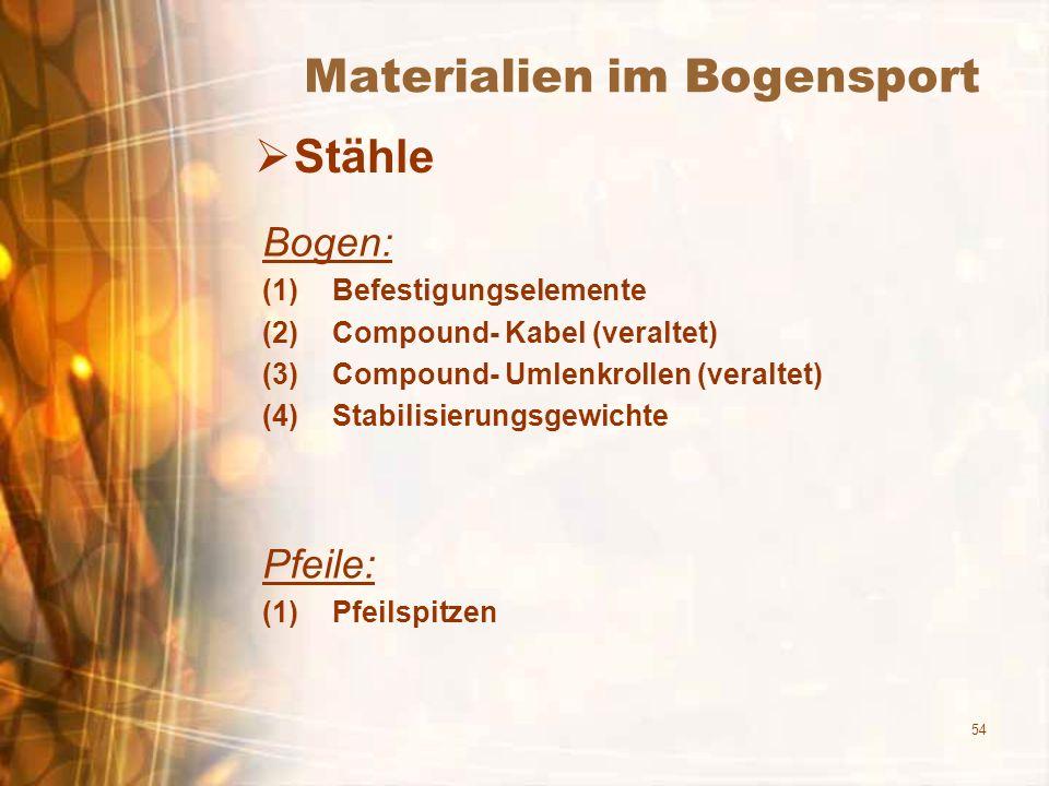 54 Materialien im Bogensport Stähle Bogen: (1)Befestigungselemente (2)Compound- Kabel (veraltet) (3)Compound- Umlenkrollen (veraltet) (4)Stabilisierun